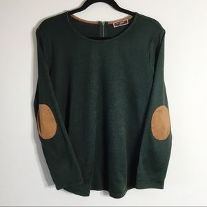 50th Street Dark Green Knit Blouse Elbow Patch